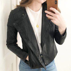 Calvin Klein Vegan Leather Black Moto Jacket Coat